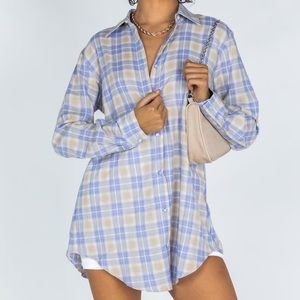 Princess Polly Hailey Flannel Shirt Dress, US 6